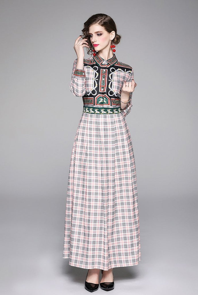 Temperament Fashion Print Lapel Long Sleeve Dress