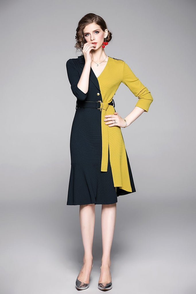 Fashion V-neck Long-sleeved Stitching Irregular Dress