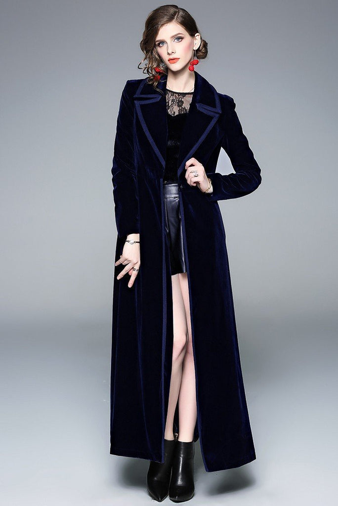 Suit Collar Long Sleeve Fashion Velvet Slim Long Coat