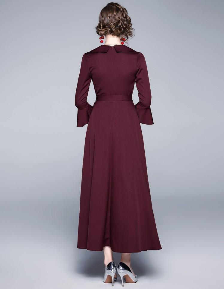 V-neck Embroidered Trumpet Sleeves Slim Long Dress