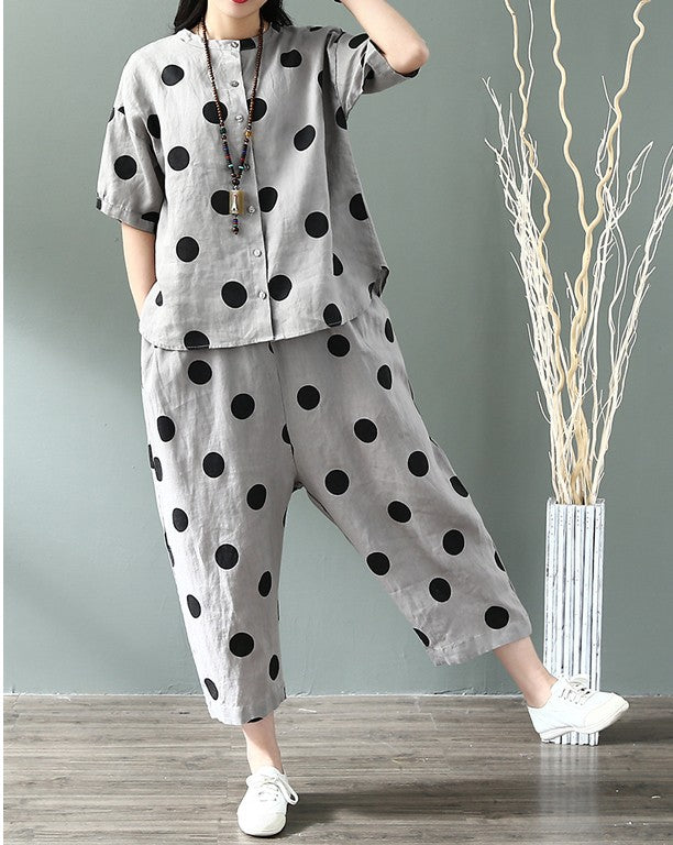 Cotton Linen Polka Dot Suit Set
