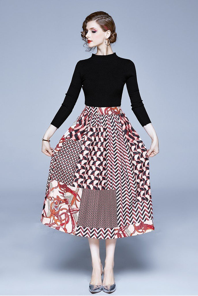 New Long Sleeve Knit Sweater + Elastic Waist Contrast Pleated Skirt