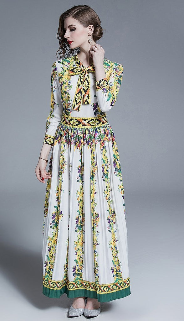 Temperament bow tie print slim long dress