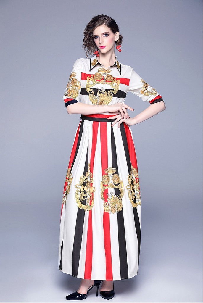 Temperament fashion wild striped print long slim dress