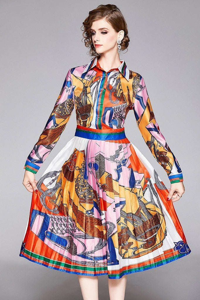 Lapel Retro Print Long Sleeve Slim Mid-length Pleated Dress
