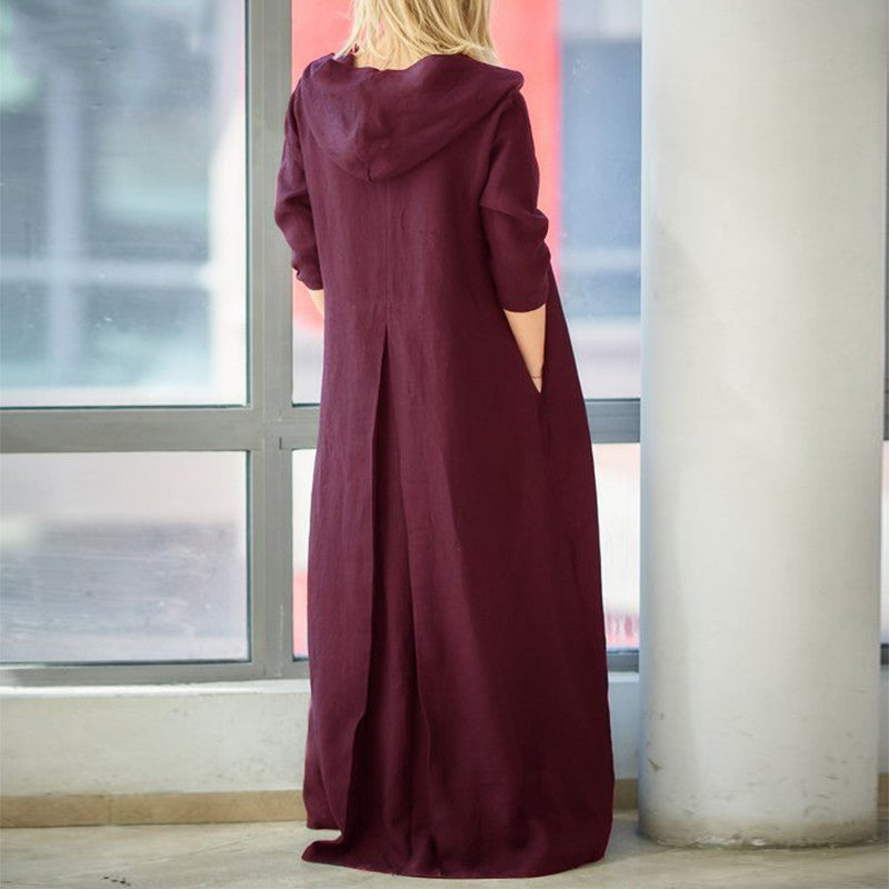 Long-sleeved Hooded Cotton Retro Casual Long Dress