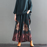 Print Stand Collar Polyester Dress And Wide Leg Pants