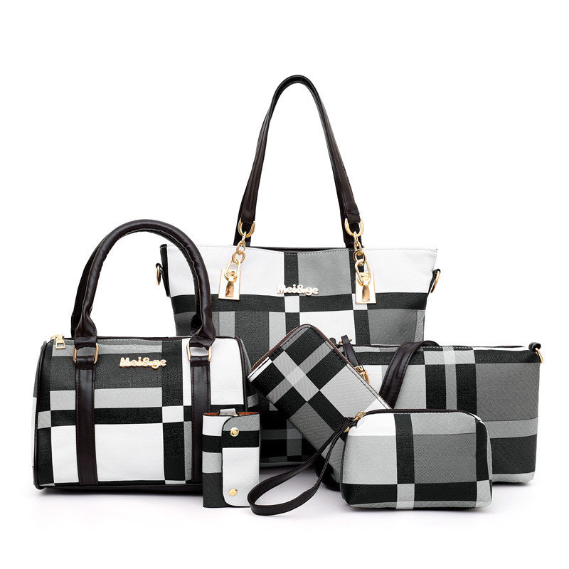 Fashion Lattice Mother And Child Bag (Six-Piece Set)
