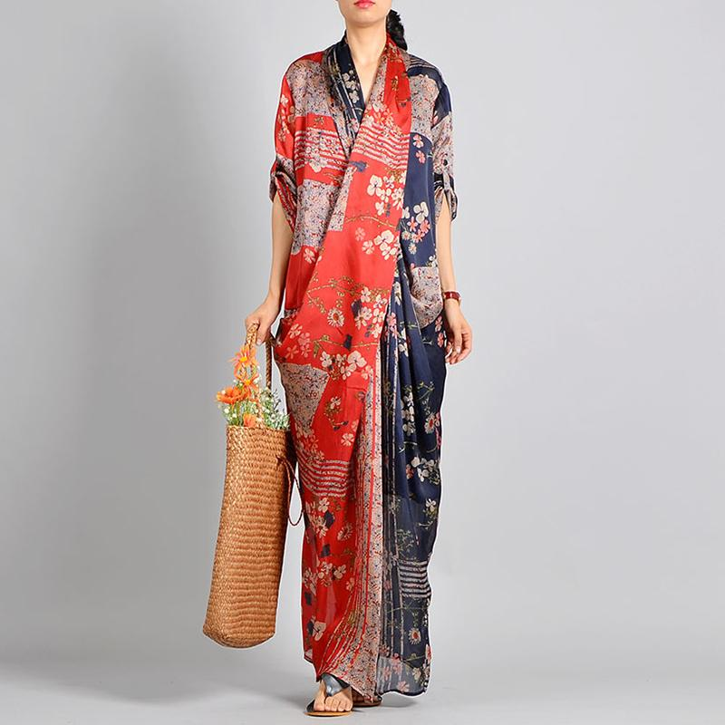 Spliced Print Vintage Tencel Women Dress