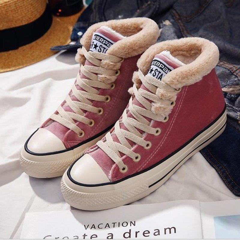 Women's Suede Lace Up High Winter Sneakers