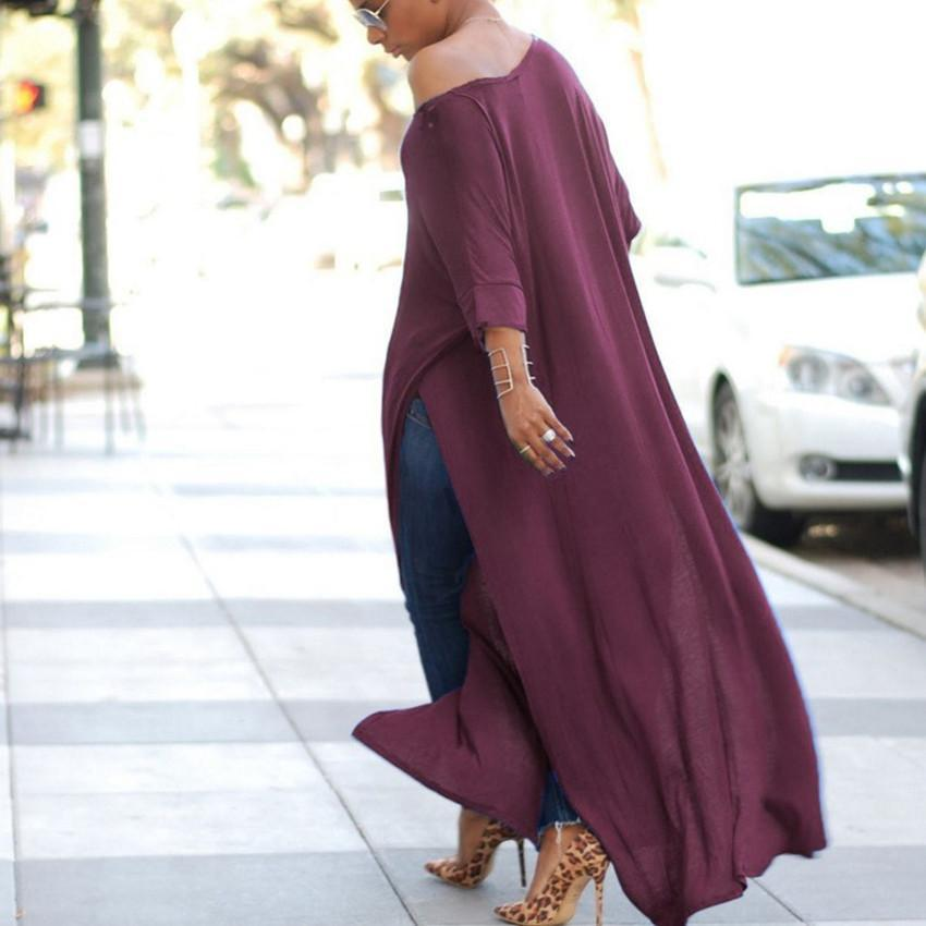 Simple Loose Long Slit Elastane Maxi Dress