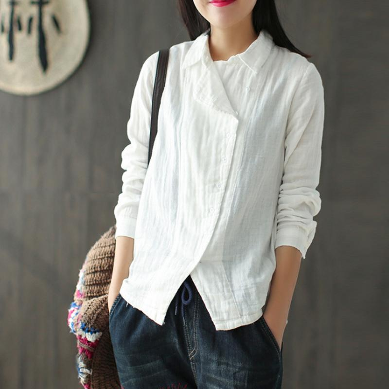 Vintage Cotton Linen Solid Long Sleeve Shirt