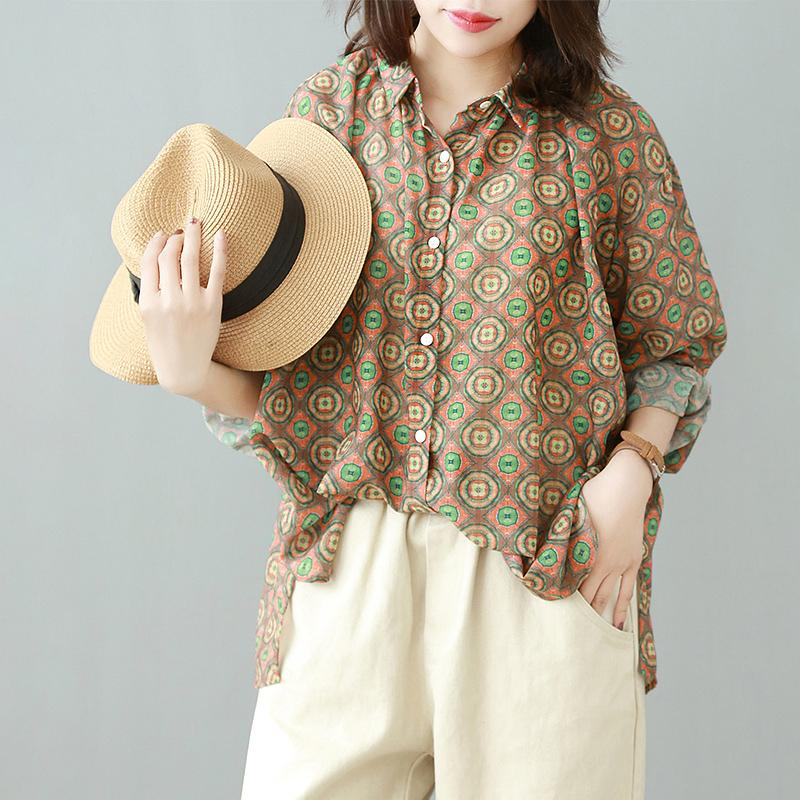 Vintage Print Casual Long Sleeve Blouse
