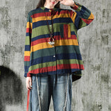 Vintage Striped Cotton Linen Long Sleeve Shirt
