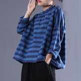 Women Stripe Casual Loose Literature Spring Shirt