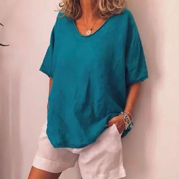 Women's Pure Color Loose Short-Sleeved Leisure T-Shirt