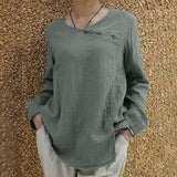 Cotton Linen Round Neck T-shirt Loose Long-sleeved Button Top