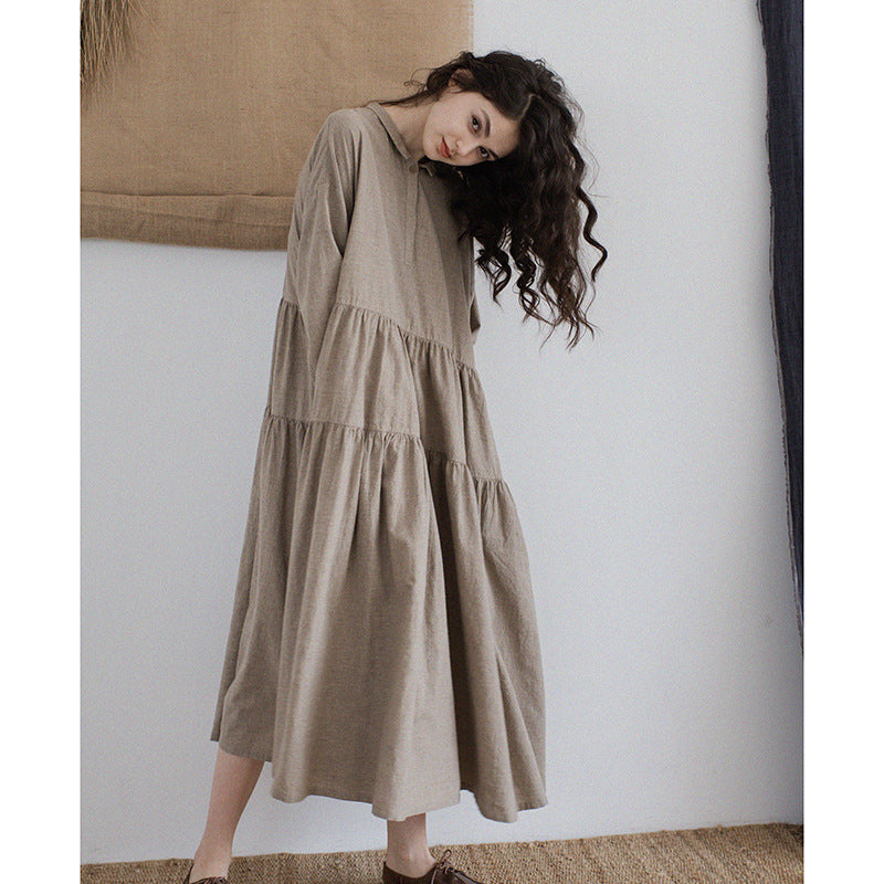 Yarn Dyed Linen Women's Retro Long Dress