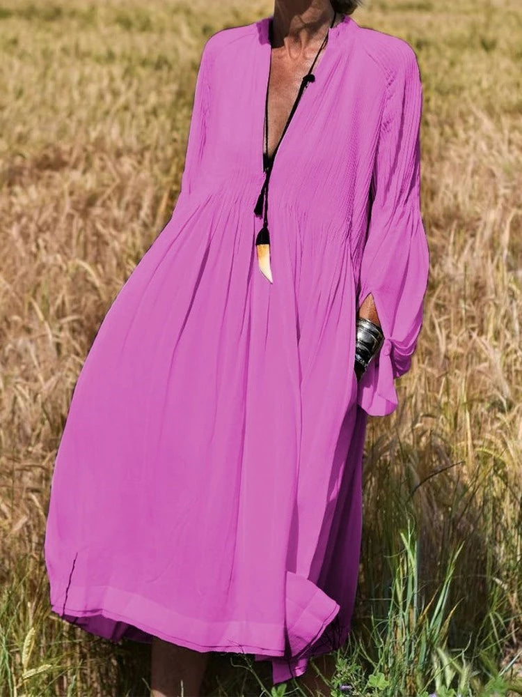 V Neck Long Sleeves Chiffon Dress