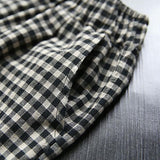 Cotton Linen Plaid Vintage Blouse And Pants