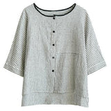 Summer Vintage Striped Short Sleeve Shirt