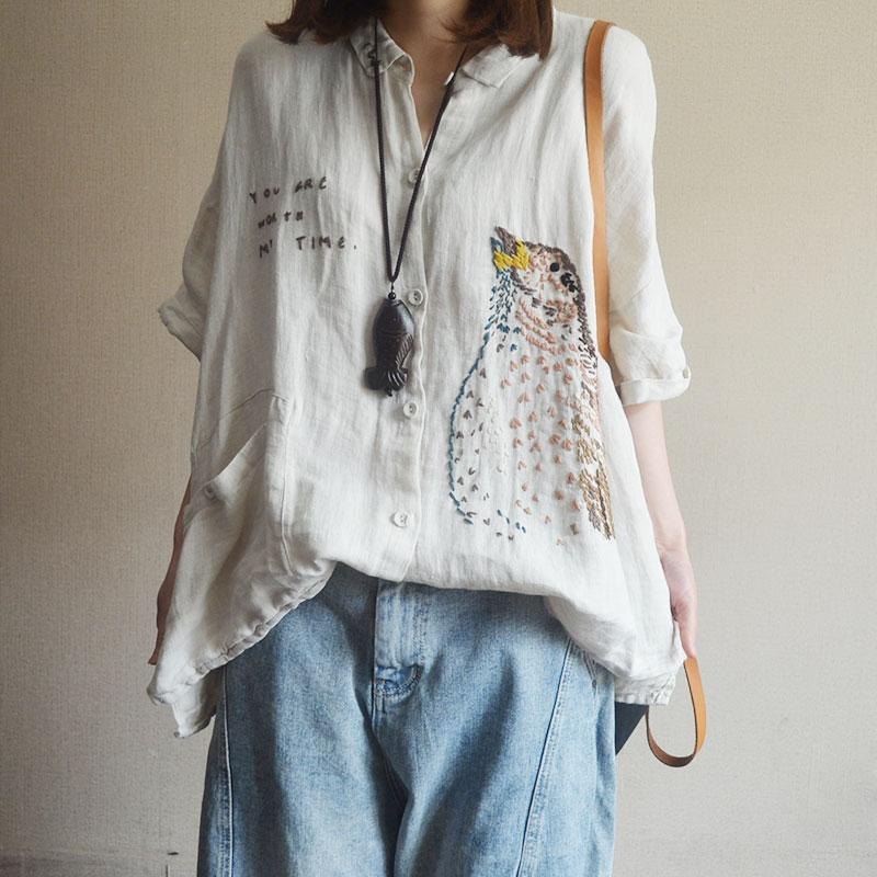 Cotton Linen Embroidery Casual Cartoon Blouse
