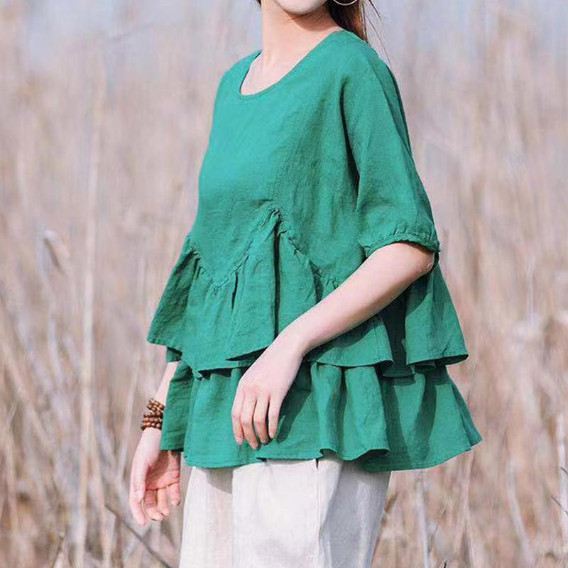 Women Cotton Casual Solid Short Blouse