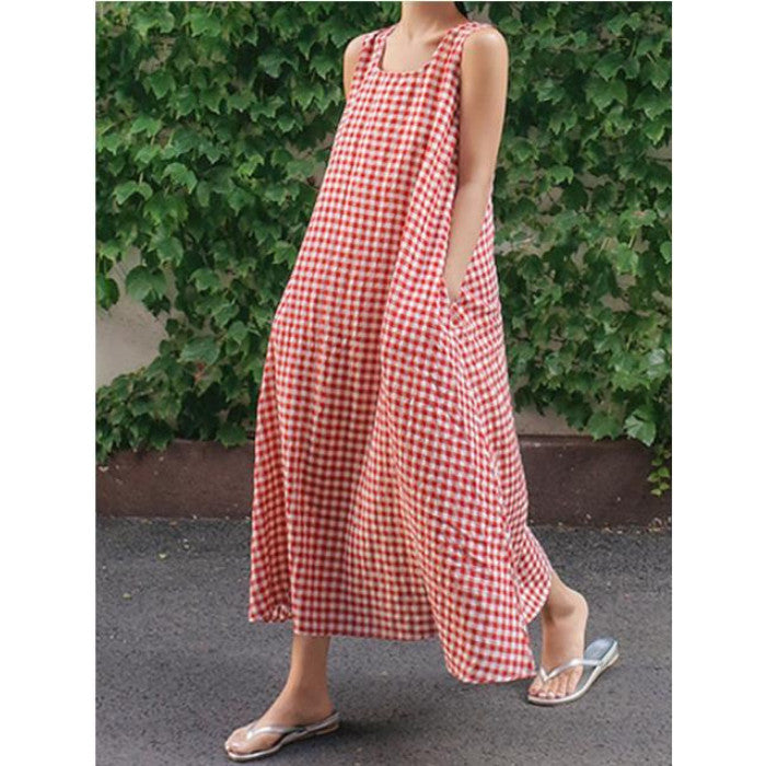 Summer Plaid Loose Maxi Dress with Pockets
