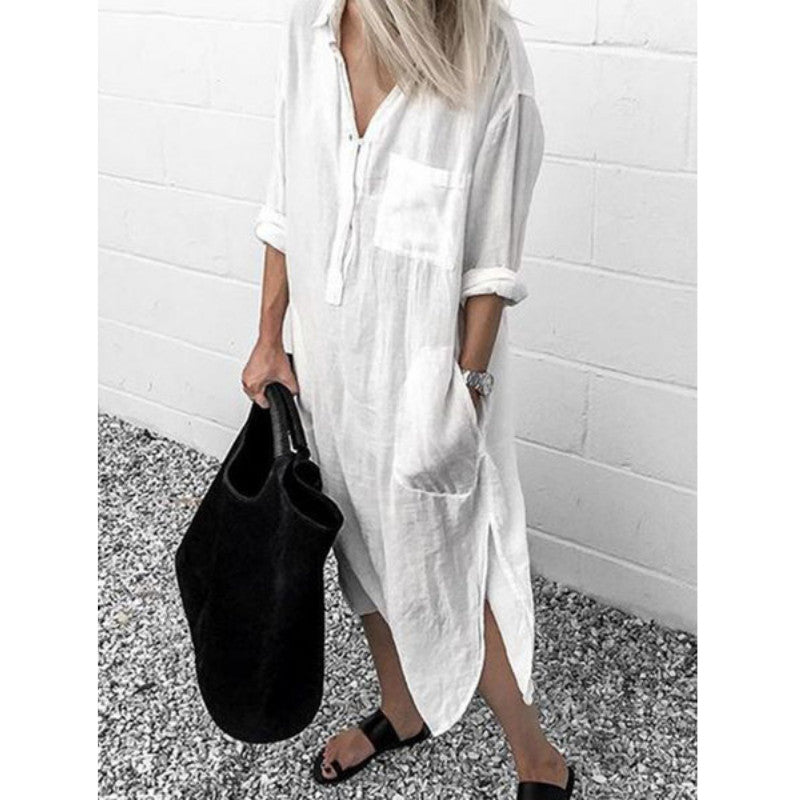 Loose Casual Split Cotton Maxi Dress