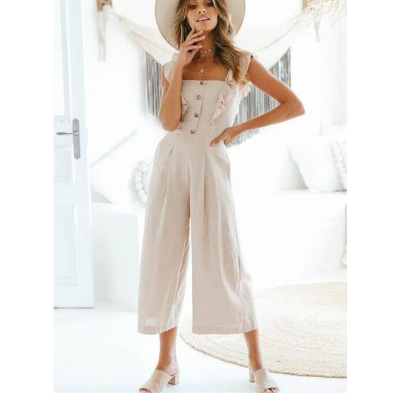 Cotton apricot fungus lace jumpsuit