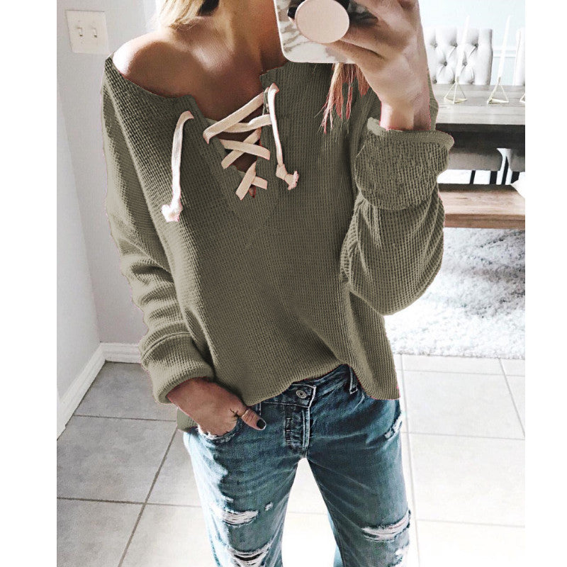V Neck Knitting Casual Sweater Tops