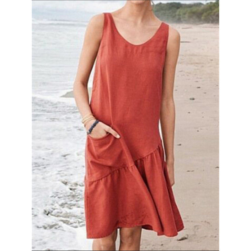 Sleeveless Cotton Summer Dress with Pocket