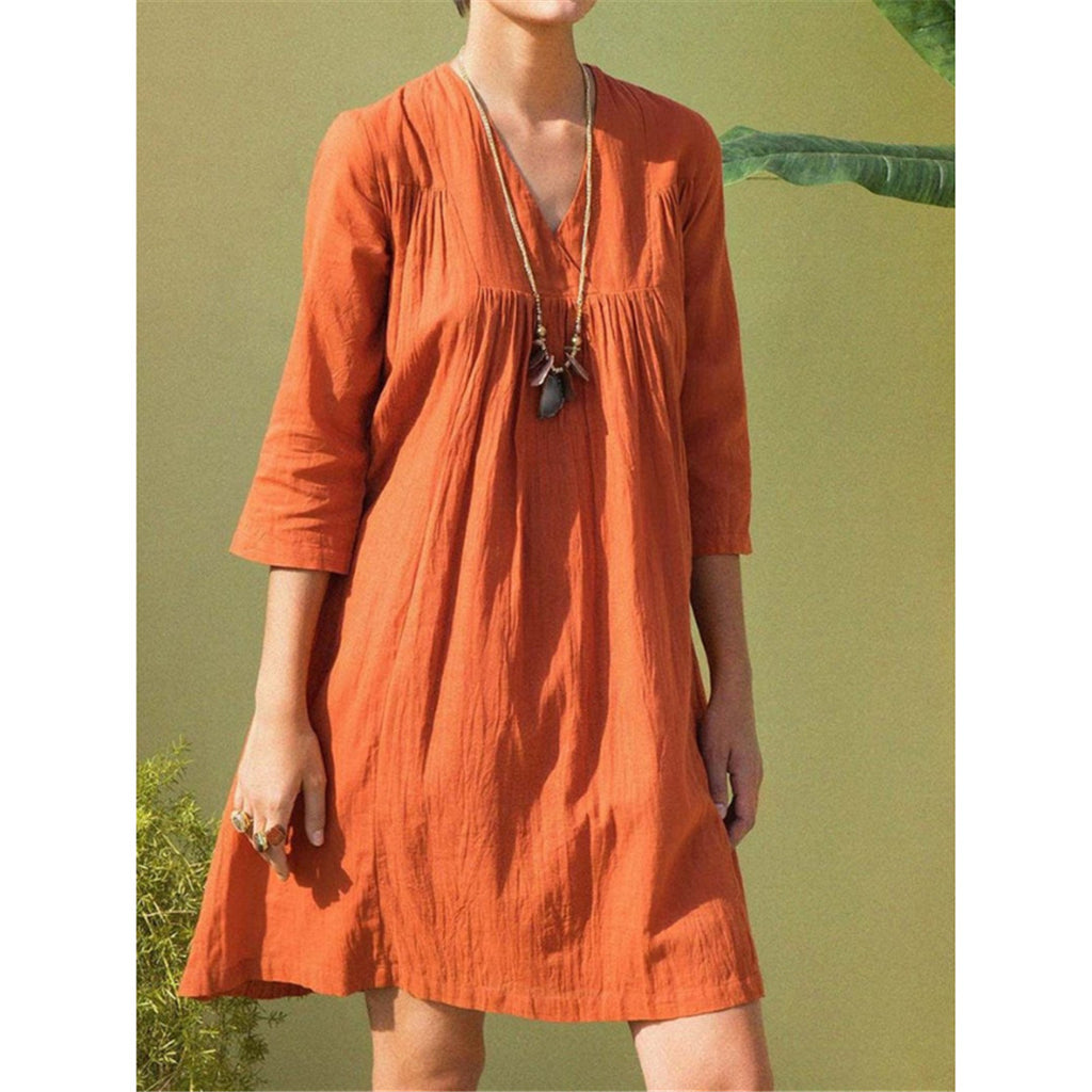 Plus Size V Neck Long Sleeves Mini Dress