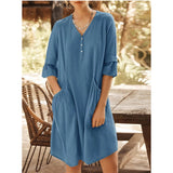 Summer V Neck Large Pocket Mini Dress