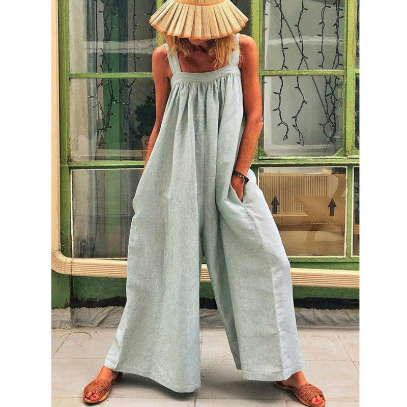 Summer Solid Color Loose Casual Jumpsuits