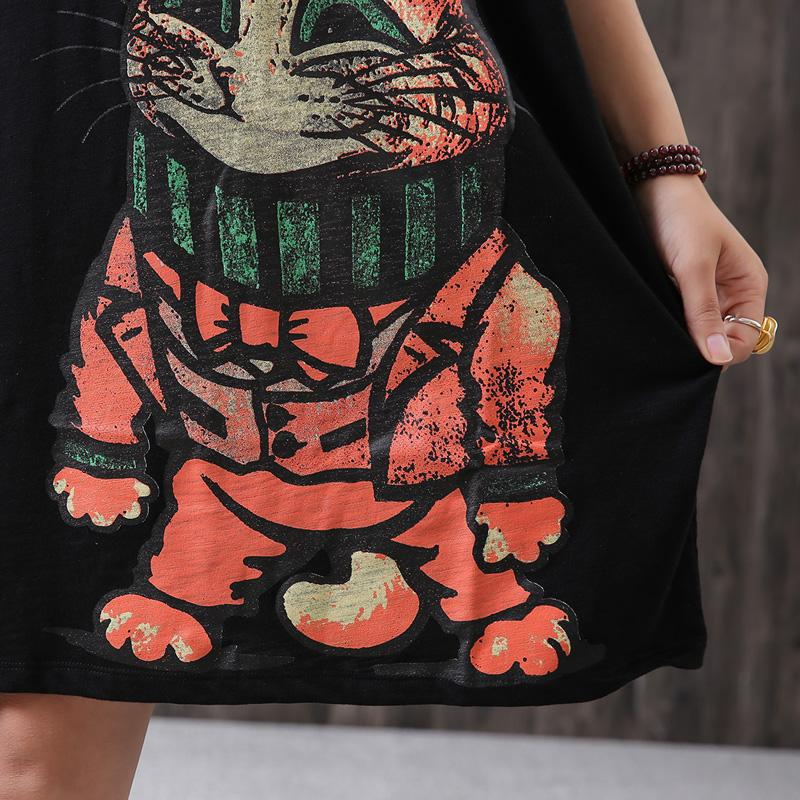 Womens Short Sleeve Cartoon Cotton T-Shirt