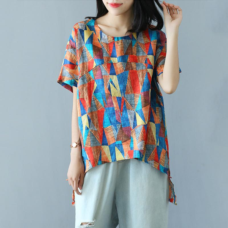 Summer Ramie Literatry Print Irregular Short Sleeve T-shirt