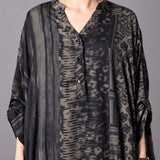 V-Neck Silk Irregular Print Dress Retro Stitching Robes