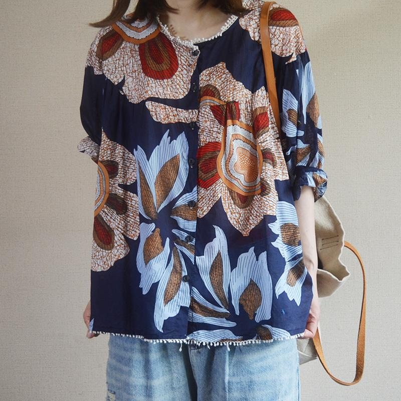 Print Vintage Spliced Single Breasted Blouse