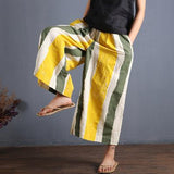 Casual Linen Striped Print Wide Leg Pants