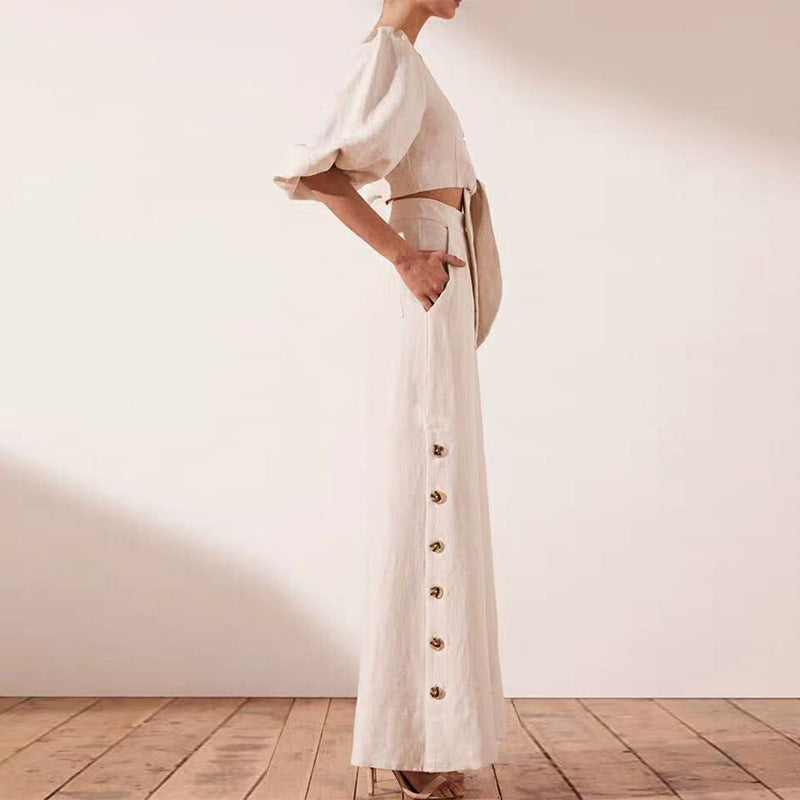 Puff Sleeve Strap Short Top + High Waist Cotton Wide Leg Pants
