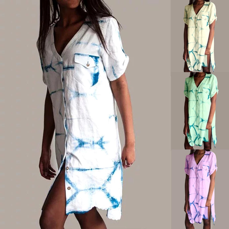 Print Short Sleeves Mini Length Dress