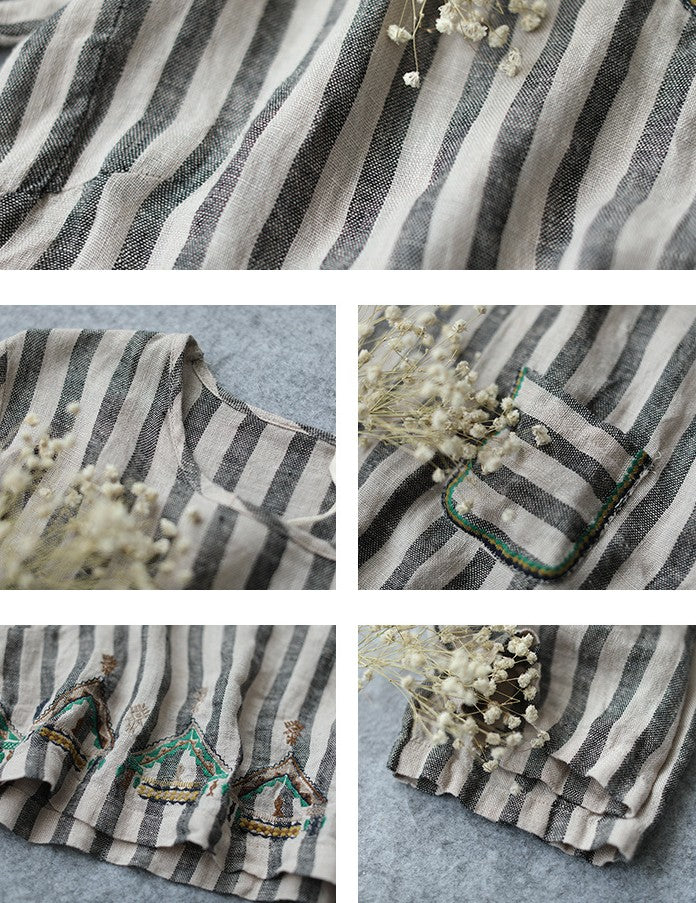 Striped Cotton Linen Embroidery Shirt