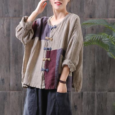 Vintage Frog Soliced Loose Linen Blouse