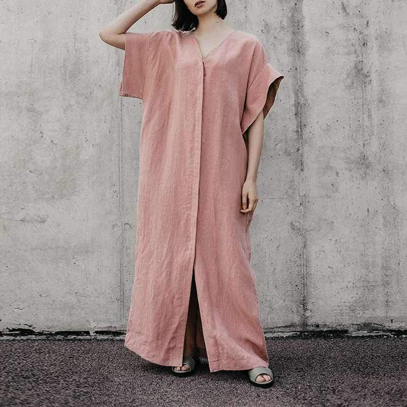 Ankle-Length Belt V-Neck Pullover Batwing Sleeve Dress