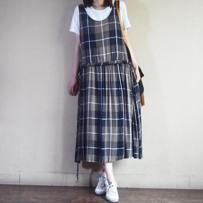 Casual Loose Plaid Cotton Linen Sleeveless Dress