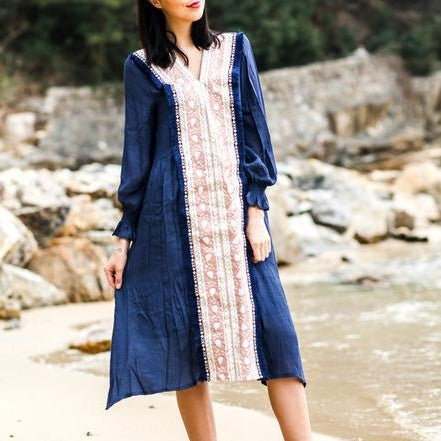 Embroidered Loose Waist V-Neck Dress