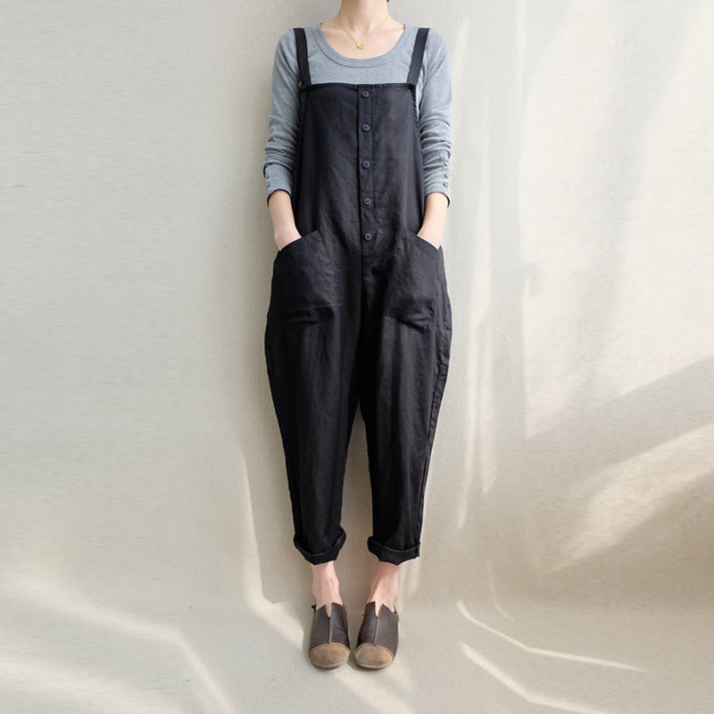 Cotton Linen Overall Jumpsuits