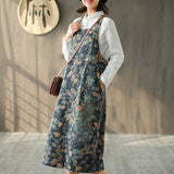 Literary Flowers Printing Sweet Suspender Dress
