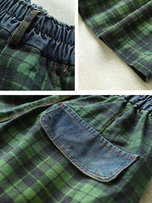 Vintage Cotton Plaid Short Wide Leg Pants